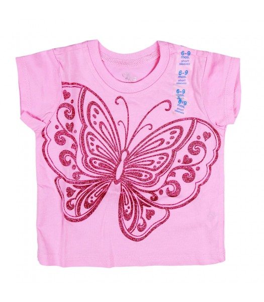 Childrens Place Big Butterfly Graphic Pink Tee