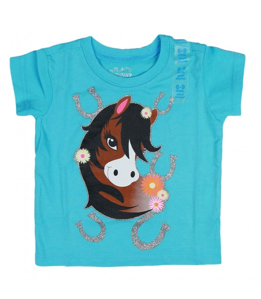 Childrens Place Pretty Horse Graphic Blue Tee