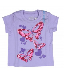 Childrens Place Pink Camo Butterfly Graphic Purple Tee