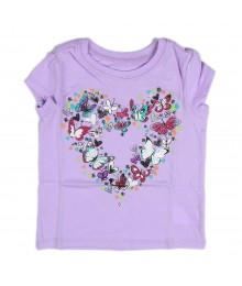 Childrens Place Lilac Girls Tees- Butterfly Graphic In Heart Shape Baby Girl
