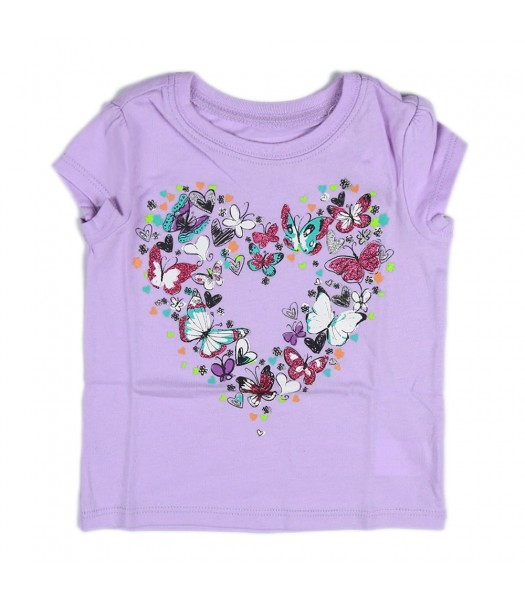 Childrens Place Lilac Girls Tees- Butterfly Graphic In Heart Shape