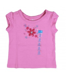 Childrens Place Mesh Art Flower Applique Pink Tee