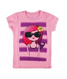 Childrens Place Pink Stripped/Sunglasses Tee