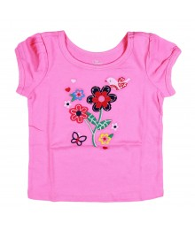 Childrens Place Pink Flower Applique Tee Baby Girl