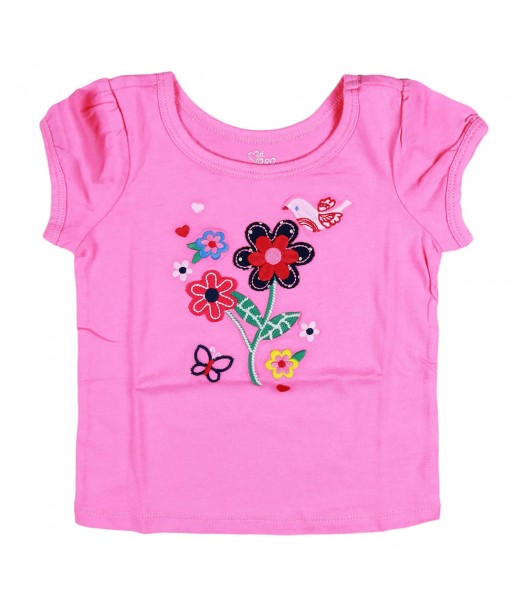 Childrens Place Pink Flower Applique Tee