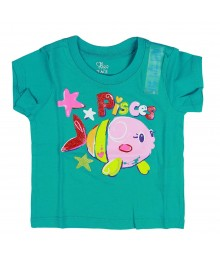 Childrens Place Green Tee- Fish Graphic Baby Girl