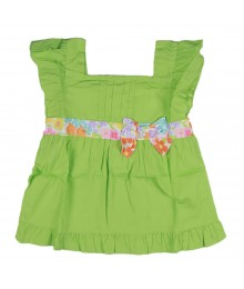 Gymboree Green Floral Bow Top Girls
