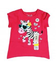 Jumping Beans Pink Assymmetrical Tee- Zebra Baby Girl