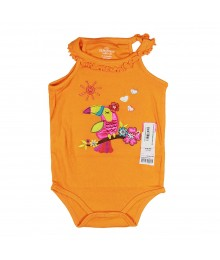 Okie Dokie Orange Rib Tee With Multi Parrot Applque Baby Girl
