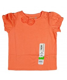 Jumping Beans Orange Tee With 2 Roseette Baby Girl