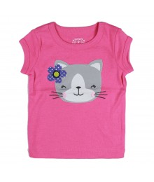 Carters Pink Tee With Grey Cat Appliq