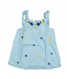 Gymboree Blue Allover Emb Flower Swing Top