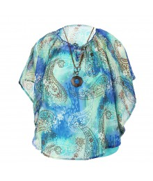 Knitworks Teal/Blue Abstract Circle Top Wt Cami