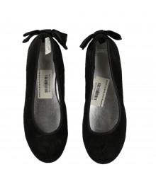 Gymboree Black Velvet Flats With Bow Ribbon @Back Ankle
