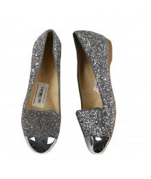 Gianni Bini Silver Glitter Slats With Silver Cap Toe