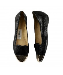 Gianni Bini Black Animal Skin Flats With Gold Cap Toe