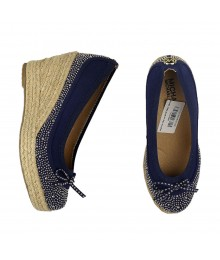 Michael Kors Blue Wt Gold Studded Wedge