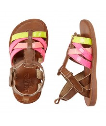 Oshkosh Multi Neon Strap Sandals -Pink,Yellow,Orange ,Brwn
