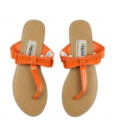 Crazy 8 Orange Thong Slippers With Bow