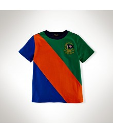 Polo Green/Blue/Orange Color Block Boys Tee Wt Crest