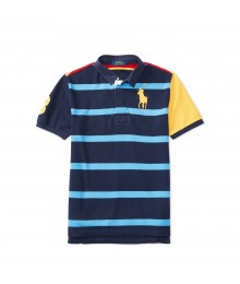 polo blue striped rugby wt colored back polo
