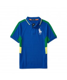 polo big pony blue wt gree/yello side boy polo
