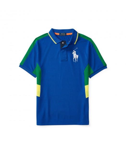 polo big pony blue wt gree/yello side boy polo Little Boy