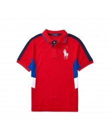 polo big pony red wt blue/white side  boy polo