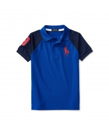 polo big pony blue wt black shoulder  boy polo