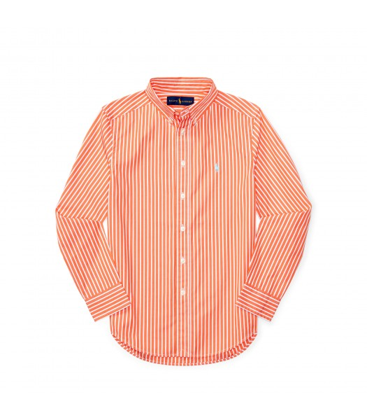 polo orange/white stripe with turq pony l/s sh