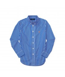 polo blue/white stripe with orange pony l/s sh