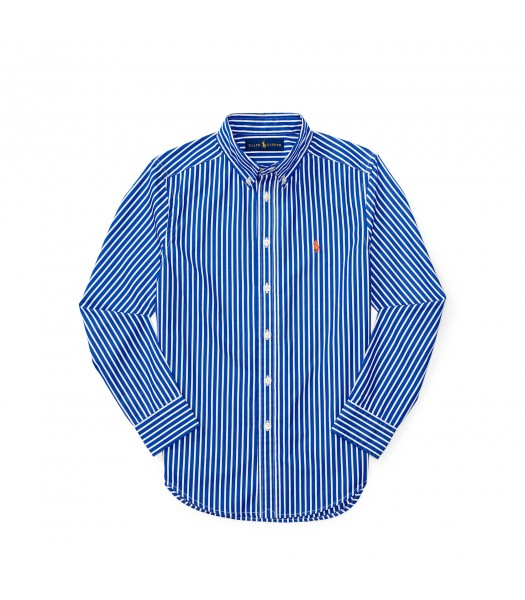 polo blue/white stripe with orange pony l/s sh