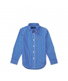 ralph lauren blue/white stripe cotton boys l/s shirt