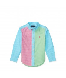 ralph lauren multicolor patchwork cotton  l/s boys shirt