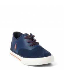 ralph lauren navy/orange vaughn mesh boys sneakers