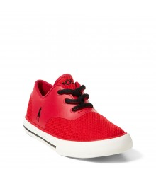 ralph lauren red/black vaughn mesh boys sneakers