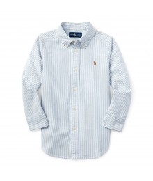 Ralph Lauren white/blue l/s oxford rugby shirt wt big brown pony